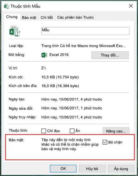Bấm chuột phải vào tệp của bạn trong Windows Explorer để bỏ chặn macro.