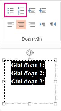 Thay đổi văn bản thành các dấu đầu dòng