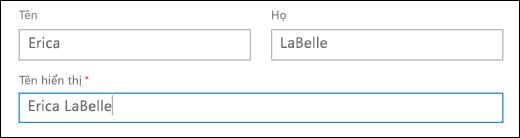 Ảnh chụp màn hình thêm người dùng trong Office 365, Hiển thị các trường tên, họ và tên hiển thị.