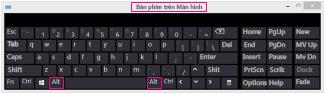 Bàn phím Trên Màn hình trong Windows 8 có phím Alt