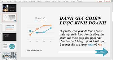 Bản trình bày với trang chiếu có chứa biểu đồ và văn bản kèm theo hai siêu kết nối
