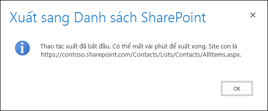 Ảnh chụp màn hình thông báo xuất vào danh sách SharePoint với nút OK.