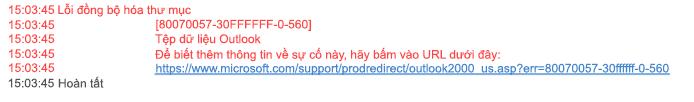 Vấn đề đồng bộ Lỗi thư mục 80070057-30FFFFFF-0-560