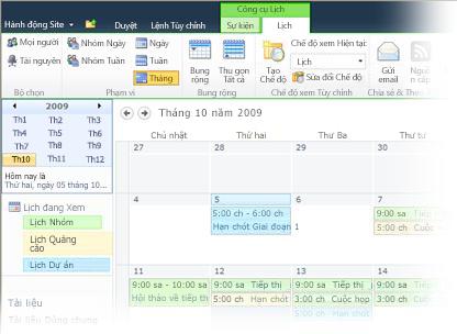 Sử dụng nhiều lịch trong SharePoint