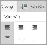 Căn chỉnh văn bản bảng Windows Mobile