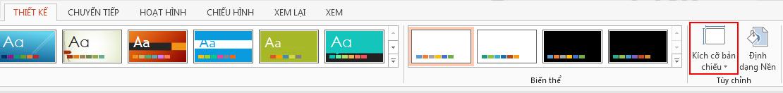 Trên tab Thiết kế, trong nhóm Tùy chỉnh, bấm Kích cỡ Trang chiếu.