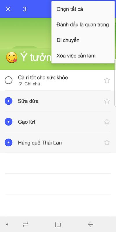 Ảnh chụp màn hình hiển thị tùy chọn để di chuyển việc cần làm trên điện thoại Android