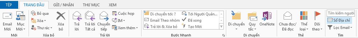 Sổ địa chỉ nằm ở bên phải ruy-băng, trên tab Trang đầu.