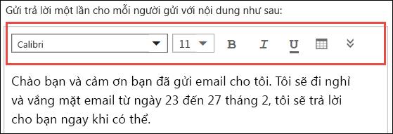 Thư trả lời tự động trong Outlook trên web