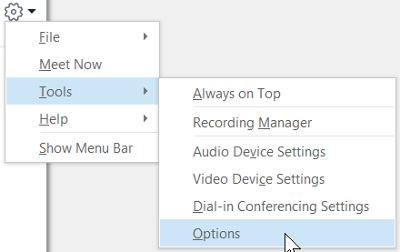 Menu tùy chọn Skype trong công cụ tùy chọn