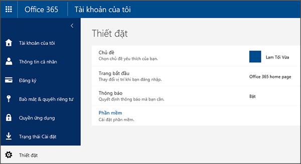 Trang Cài đặt của Office 365