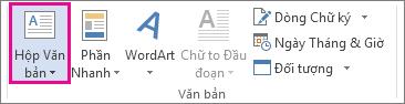 Lệnh Hộp Văn bản trên tab Chèn