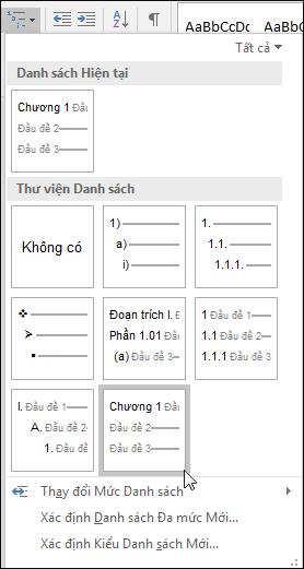 Sử dụng danh sách đa mức Đầu đề chương để định dạng đầu đề chương có trong chú thích.