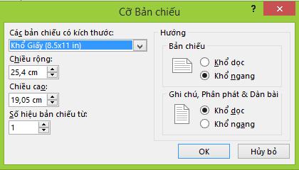 Bạn có thể xác định thiết đặt cho trang chiếu trong hộp thoại Kích cỡ Trang chiếu.