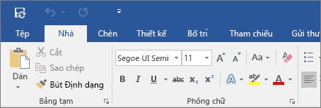 Hiển thị ribbon nhiều màu trong Word 2016