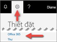 Hình ảnh hiển thị vị trí bạn có thể bấm vào trong Cài đặt.