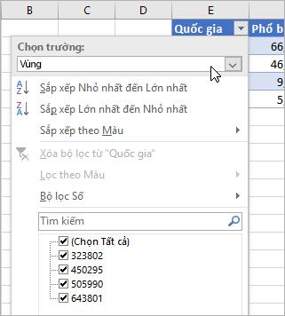 Menu Bộ lọc, menu Hiển thị giá trị, các trường từ kiểu dữ liệu được liên kết được liệt kê