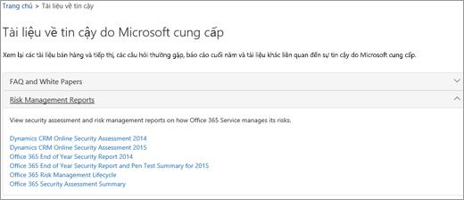 Hiển thị trang Đảm bảo dịch vụ: Các tài liệu về tin cậy do Microsoft cung cấp