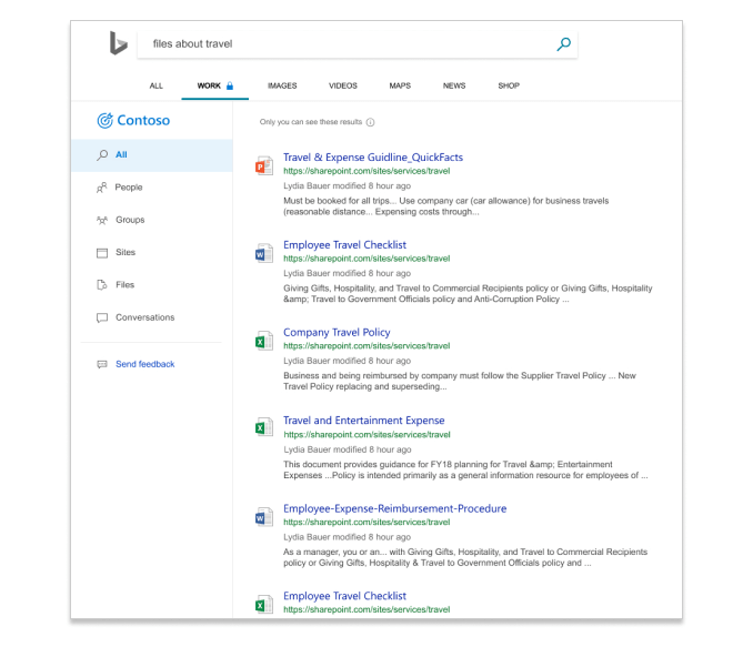 Kết quả tìm kiếm trong Microsoft Search trong Bing Hiển thị các tệp trong một công ty.