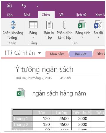 Ảnh chụp màn hình của bảng tính nhúng trong OneNote 2016.