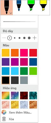 Tùy chọn màu và độ dày cho bút trong bộ sưu tập bút Office trên tab vẽ