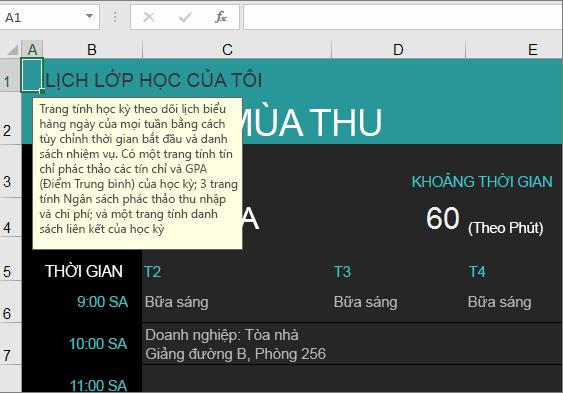 Mẫu Excel Trình quản lý Khóa học Đại học Mới có mô tả cho các yếu tố.