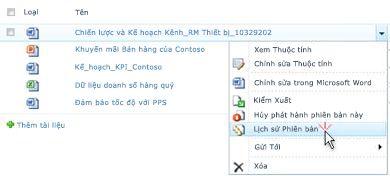 Danh sách thả xuống cho tệp SharePoint. Lịch sử Phiên bản được chọn.