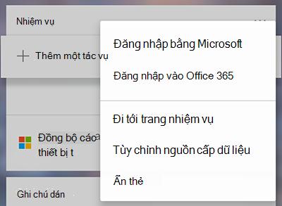 Ảnh chụp màn hình hiển thị tùy chọn đăng nhập bằng Microsoft hoặc Office 365 trong menu Thêm thêm thẻ nhiệm vụ