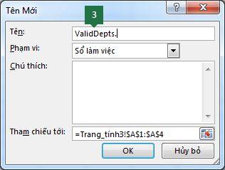 Nhập tên cho danh sách mục thả xuống trong Excel