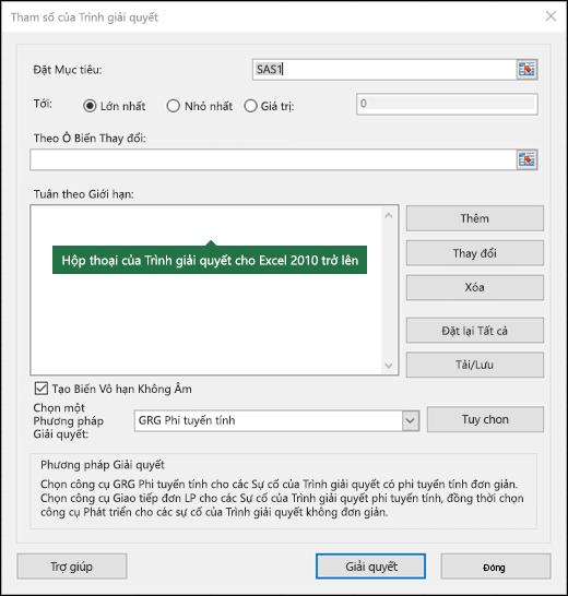 Ảnh của hộp thoại Excel 2010 + bộ giải