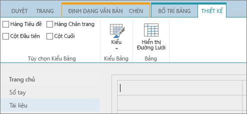 Ảnh chụp màn hình dải băng SharePoint Online. Sử dụng tab Thiết kế để chọn các hộp kiểm cho hàng tiêu đề, hàng chân trang, cột đầu tiên và cột cuối cùng trong một bảng, đồng thời chọn từ các kiểu bảng và cho biết có sử dụng đường lưới cho bảng không.