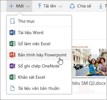 Ảnh chụp màn hình hiển thị cách tạo tệp hoặc thư mục trong OneDrive