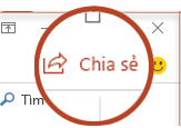 Nút chia sẻ trong PowerPoint 2016
