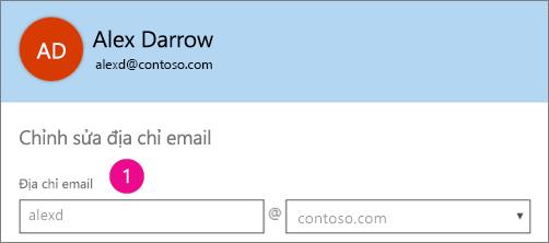 Ảnh chụp màn hình của trường hồ sơ địa chỉ email trong Office 365