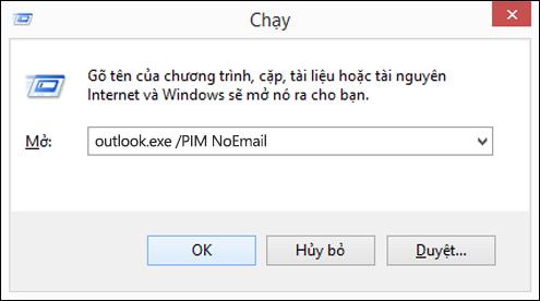 Dùng hộp thoại chạy để tạo hồ sơ mà không cần email