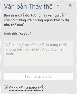Ngăn văn bản thay thế với tùy chọn đánh dấu là trang trí được chọn trong Word cho Windows.