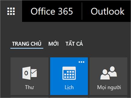 Ảnh chụp màn hình của ô Lịch trong Công cụ khởi động Ứng dụng của Office 365.