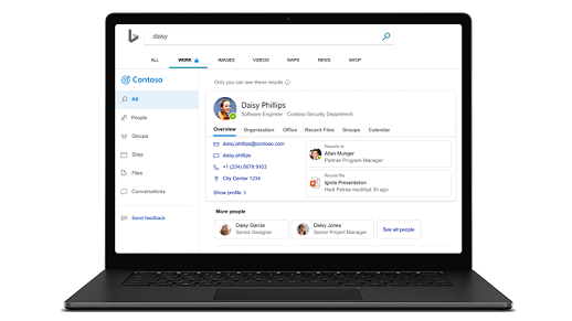 Một máy tính xách tay với màn hình tìm kiếm của Microsoft được hiển thị.