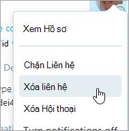 Ảnh chụp màn hình của tùy chọn xóa bỏ liên hệ trong menu ngữ cảnh liên hệ của Skype