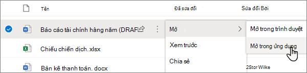 Tùy chọn mở > mở trong menu ứng dụng được chọn cho một tệp Word trong cổng thông tin OneDrive Online