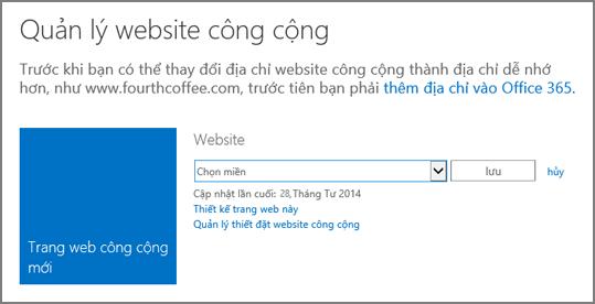 Hộp thoại Quản lý trang web công cộng, hiển thị Chọn một tên miền.