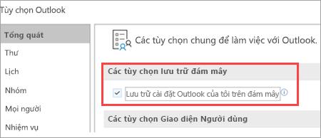 Hiển thị các tùy chọn thiết đặt Outlook