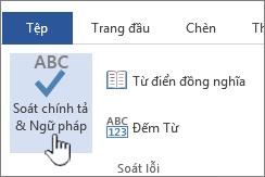 Nút Soát chính tả và ngữ pháp trên dải băng Xem lại