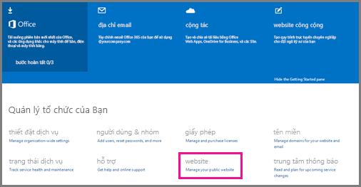 Trang Quản trị, hiển thị Quản lý trang web công cộng của bạn.
