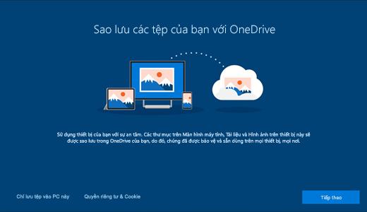 Ảnh chụp màn hình của trang OneDrive xuất hiện khi bạn sử dụng Windows 10 lần đầu tiên