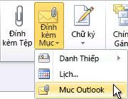 Lệnh Đính kèm Mục Outlook trên dải băng