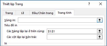 Tab trang tính trong hộp thoại Thiết lập Trang