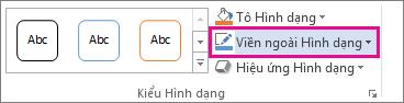 Lệnh Viền ngoài Hình dạng trên tab Định dạng Công cụ Vẽ