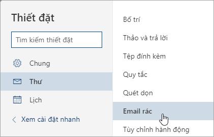 Ảnh chụp màn hình của menu thiết đặt với email rác được chọn