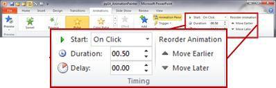Nhóm Định thời gian trên tab Hoạt hình trong ribbon PowerPoint 2010.
